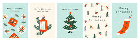 Set Christmas cards with Christmas tree, christmas elements. Vector illustrations Illustration