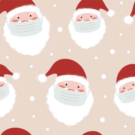 Seamless pattern with Santa Claus in medical face mask. Christmas holidays. Vector illustrations