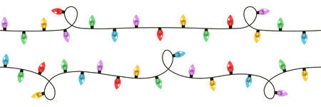 Christmas lights set on white background. Garlands with colored bulbs. Vector illustration