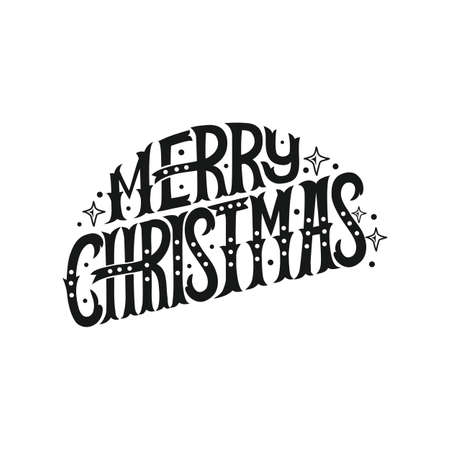 Merry Christmas. Hand draw lettering. Christmas poster or card. Vector illustrations