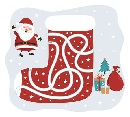 Christmas Maze Game. Santa Claus Way to the Gifts. Game for kids. Vector Illustration