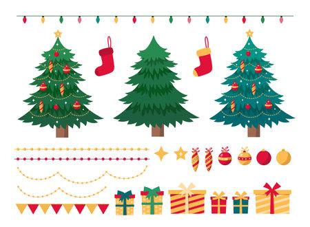 Set of Christmas elements for festive design. Christmas trees, gift boxes, balls, sock, garlands, isolated on white background. Vector Illustration