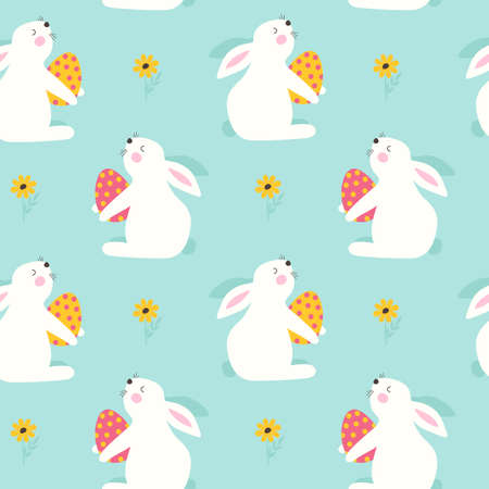 Happy Easter Seamless pattern with rabbit. Vector illustration