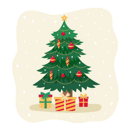Christmas tree with gift boxes. Christmas card. Vector Illustration Illustration