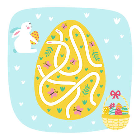 Easter Maze Game. Rabbit Way to the Easter egg. Game for kids. Vector Illustration