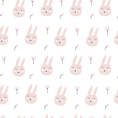 Seamless pattern with cute rabbit and flowers. Childish print. Vector illustrations 矢量图像