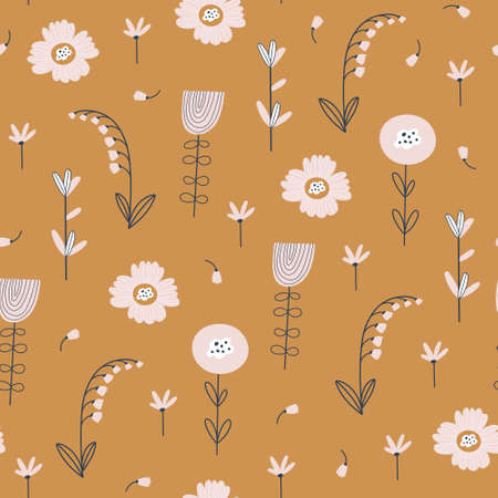 Floral pattern with flowers and leaves. Cute pattern with small flowers. Vector illustration