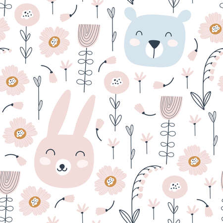Seamless pattern with cute rabbit, bear and flowers. Animals pattern. Childish print. Vector illustrations