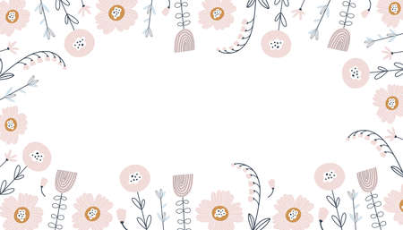 Spring Banner with cute flowers on a white background. Vector illustrations 矢量图像