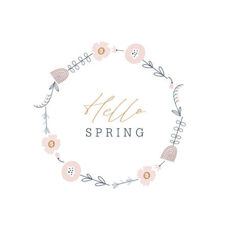 Hello spring greeting card. Hand drawn illustration with flowers. Vector 矢量图像