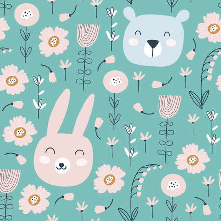 Seamless pattern with cute rabbit, bear and flowers. Animals pattern. Childish print. Vector