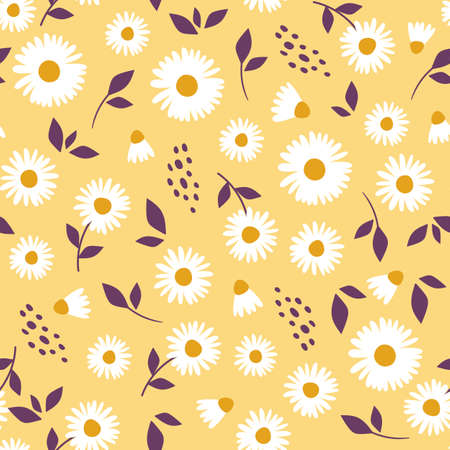 Floral pattern with camomile Cute pattern with small flowers. Vector illustrations