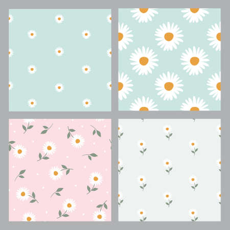 Set floral pattern with camomile Cute pattern with small flowers. Vector illustrations