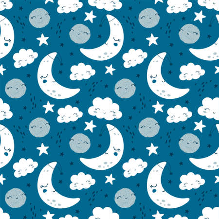 Seamless pattern with cute moon, stars and clouds. Kids background. Vector illustration Ilustrace