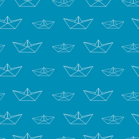 Seamless pattern with paper boats. Vector illustration