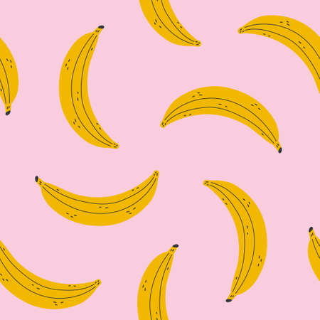 Seamless pattern with bananas on a pink background. Yellow banana. Vector illustration.