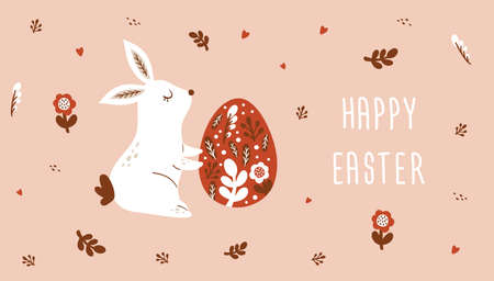 Happy Easter card, banner with Bunnies Easter eggs, flowers in trendy style. Folk art. Vector illustration
