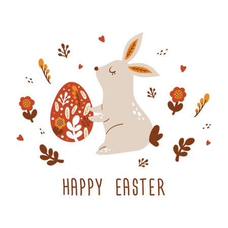 Happy Easter card with Bunnies, Easter eggs, flowers in trendy style. Folk art. Vector illustration Stock Illustratie
