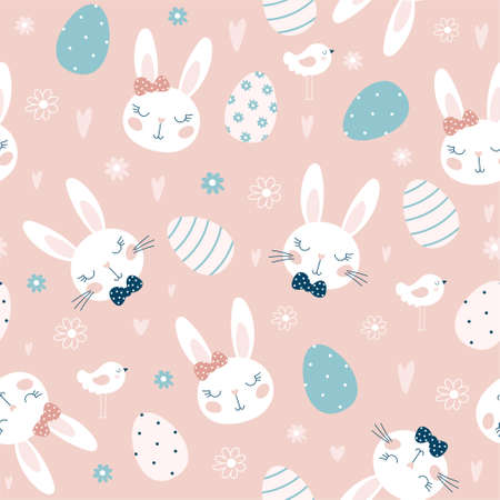 Seamless pattern with Easter eggs and rabbits, flowers. For Easter. Vector illustrations