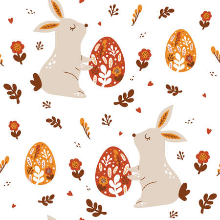 Happy Easter Seamless pattern with rabbit in trendy style. Folk art. Vector illustration Stock Illustratie