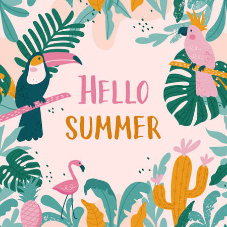 Summer holiday cards with toucans, flamingos, parrot, cactuses, exotic leaves in trendy style. Vector illustration