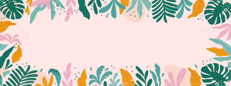 Tropical frame with space for text. Background with plants and tropical leaves - backdrop for banners, cards, posters. Vector illustration