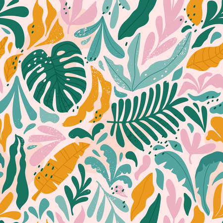Tropical seamless pattern with monstera and exotic leaves. Vector illustration