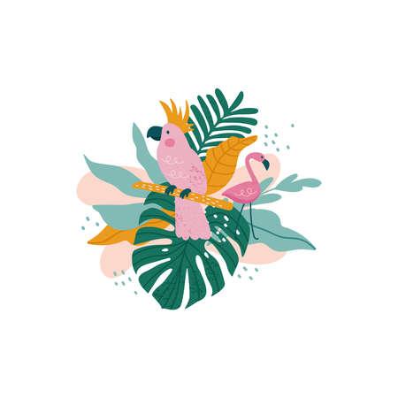 Parrot with tropical leaves, monstera, palm leaves, hibiscus, vector illustration Ilustração