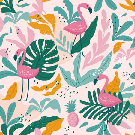 Tropical seamless pattern with flamingos, exotic leaves. Vector illustration