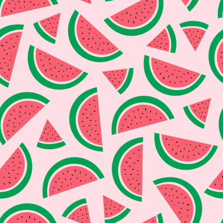 Watermelon on a pink background. Vector illustration