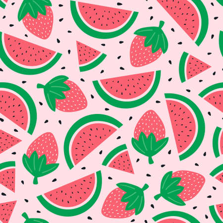 Watermelon and strawberry on a pink background. Vector illustration Vectores