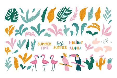 Summer set of design elements tropical leaves, flamingos, toucan, parrot. Vector illustration