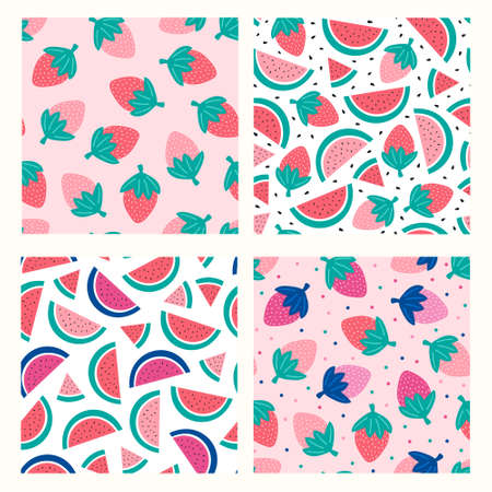 Set with watermelon and strawberry on a pink background. Vector illustration
