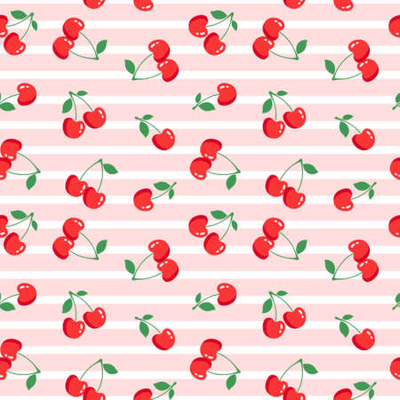 Seamless pattern with cherries on pink background. Vector illustration 矢量图像