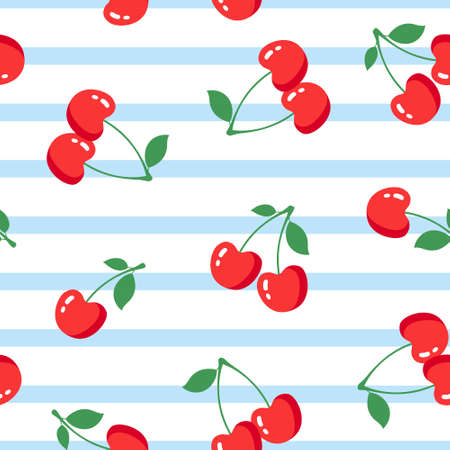 Seamless pattern with cherries on white background. Vector illustration