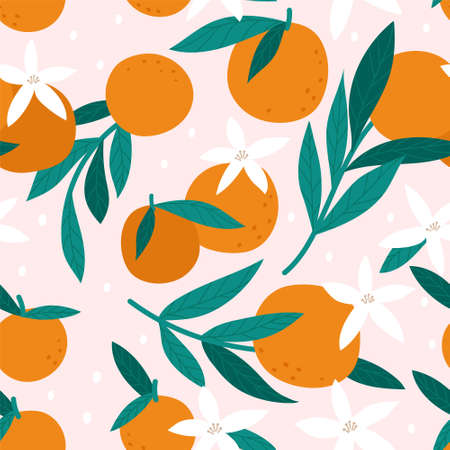 Seamless pattern with oranges. Vector illustration