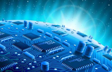 silicon: Circuit Globe Stock Photo