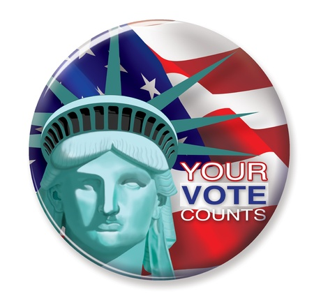 elections: Your Vote Counts Button Stock Photo