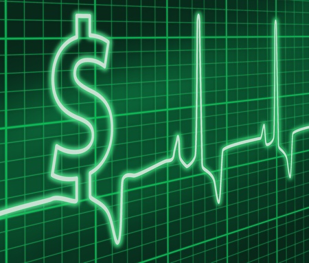 heart monitor: $ ekg Green Stock Photo