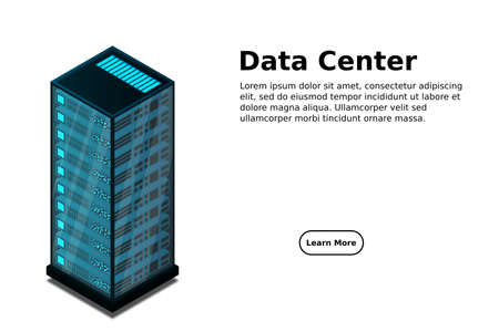 Mainframe, powered server, high technology concept, data center, cloud data storage isometric vector illustration 向量圖像