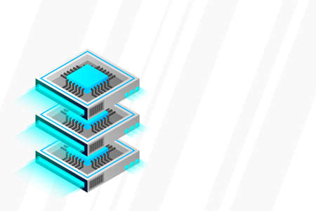 Quantum computer, large data processing, server room, artificial intelligence, data base concept, the microprocessor isometric vector Stock Illustratie