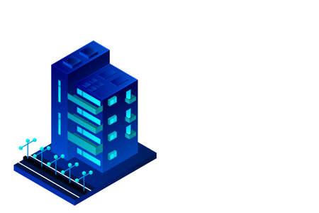 Smart city or intelligent building isometric vector concept. Modern smart city urban planning and development infrastructure buildings. Creative vector illustration on gradient background. Ilustração Vetorial