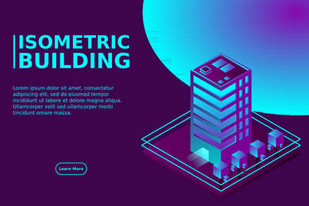 Smart city or intelligent building isometric vector concept. Modern smart city urban planning and development infrastructure buildings. Creative vector illustration on gradient background.