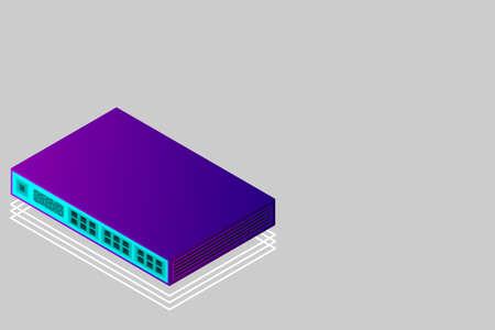 Isometric Switch with Up link Port Vector Illustration Illusztráció