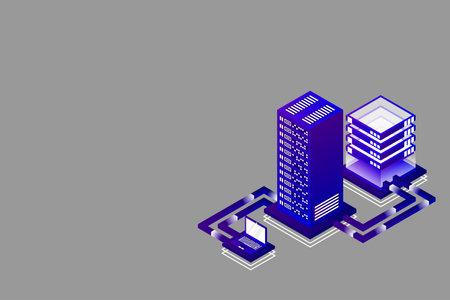 Transfer of user data to the server. Data hosting. Data flow. Data storage. Server. Digital space. Data center. Big Data. Technology. Conceptual illustration. Isometric vector illustration. 3D