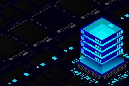 Artificial intelligence micro chip illustration. Quantum computing. PC mainboard illustration background. 3D isometric hardware