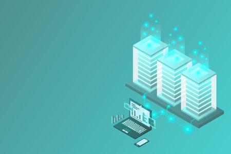 Transfer of user data to the server. Data flow. Data storage. Server. Digital space. Data center. Big Data. Conceptual illustration. Isometric vector illustration. 3D