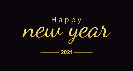2021 Happy New Year celebrate banner with 2021 numbers creative design, happy new year 2021 typography design, handwritten new year holiday greetings. Vector illustration