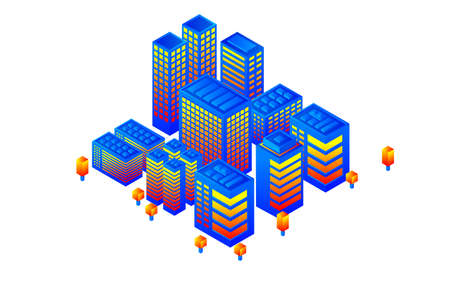 Isometric Future City. Real estate and construction industry concept. Virtual reality. Vector illustration. Vektorgrafik