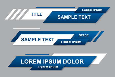 Modern geometric lower third banner template design. Colorful lower thirds set template vector. Modern, simple, clean design style Vecteurs